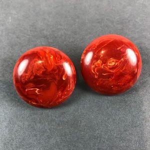 Vintage rust orange marble Bakelite clip earrings